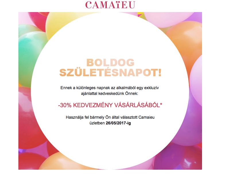 Camaieu születésnapi email