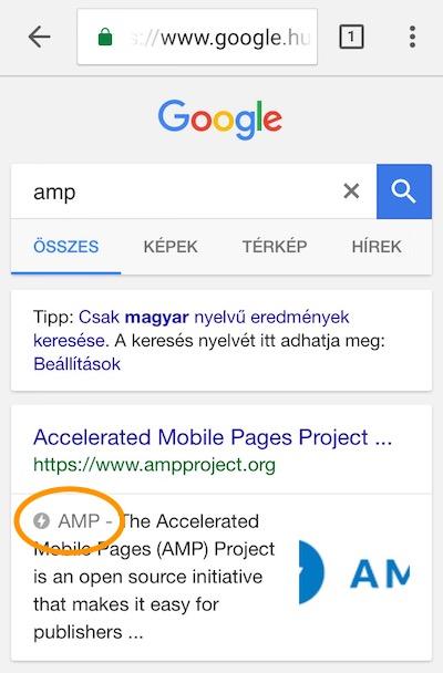AMP jelzés a találati listán