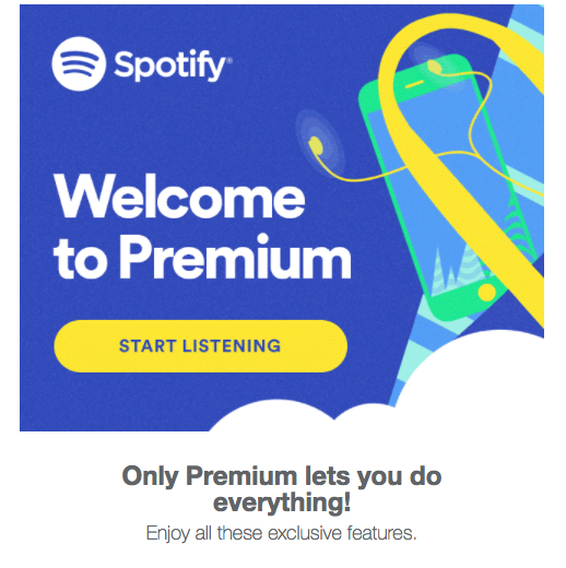Spotify welcome email