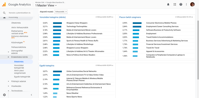 Google Analytics - érdeklődési körök