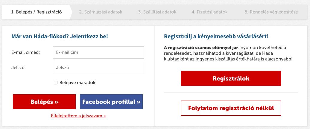Vásárlási opciók a Háda webshopban