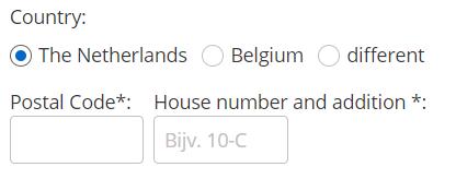 6 jegyű kód megadása hollandiai címre szállítás esetén