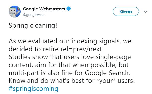 Google Spring Cleaning változász bejelentő eredeti tweet