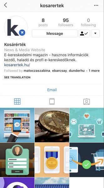 Kosárérték Instagram oldal