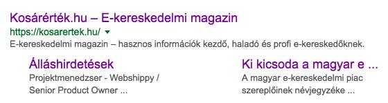 Kosárérték a Google találati listájában