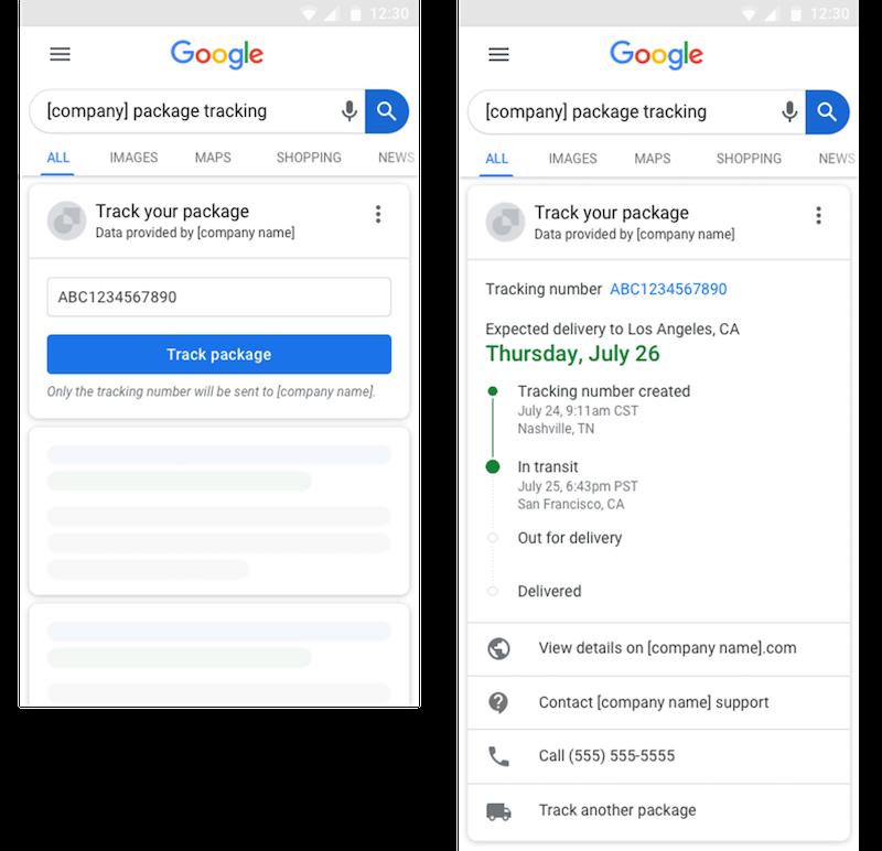 Csomagkövetés közvetlenül a Google-lel