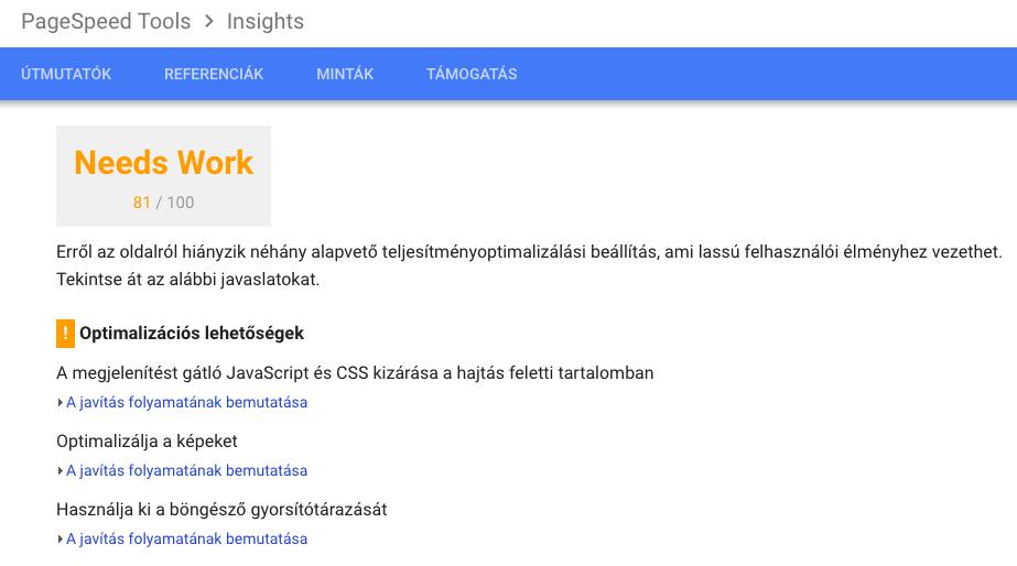 PageSpeed elemzes eredménye