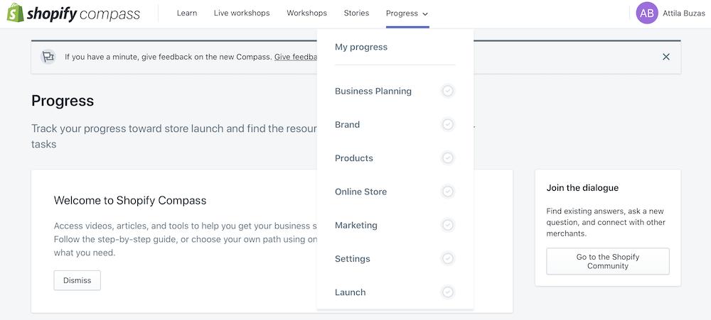 Shopify Compass: megújult platform online kurzusokkal és élő webináriumokkal